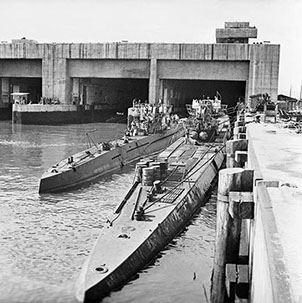 Two German u-boats in front of bunker in Trondheim in Norway after the war